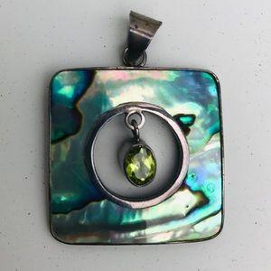 Abalone and peridot pendant